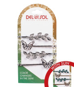 Girl's Colour-Changing Hair Pins by Del Sol - Butterfly and Leaves Hair Pins - Changes Colour in the Sun