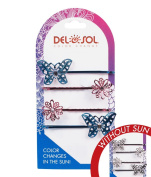 Girl's Colour-Changing Hair Pins by Del Sol - Jewelled Butterfly and Daisy Hair Pins - Changes Colour in the Sun