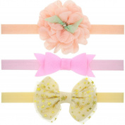 FEITONG 3PCS Newborn Infant Toddler Kids Girls Flowers Bowknot Elastic Hairband Headband