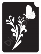 Flower with Butterfly 13061 Body Art Glitter Makeup Tattoo Stencil- 5 Pack