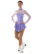 Girls Crushed Velvet Ice Skating Dress with Glittermist - Lilac or Cerise