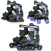SK8 Zone Girls Purple 3in1 Roller Blades Inline Quad Skates Adjustable Size Childrens Kids Pro Combo Multi Ice Skating Boots Shoes New