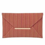 Striped Cork Envelope Casual Clutch
