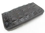 PELGIO Genuine Crocodile Backbone Skin Leather Zip Around Long Wallet