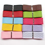 Chenkou Craft 20 Yards 2.5cm Dot Grosgrain Ribbon Total 10 Colours Mix Lots Bulk
