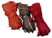 Natural Raffia 3 Bundle Pack Red, Orange, Brown