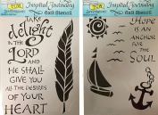 The Crafter's Workshop Set of 2 Bible Journaling Stencils – Hope Is An Anchor (TCW2150) and Take Delight (TCW2157) 23cm x 15cm - Bundle 2 Items