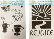 The Crafter's Workshop Set of 2 Bible Journaling Stencils – Rejoice (TCW2153) and Cup of Joy (TCW2158) 23cm x 15cm - Bundle 2 Items