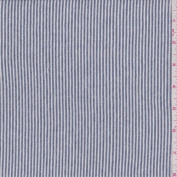 Chambray/White Mini Stripe Sweater Knit, Fabric Sold By the Yard