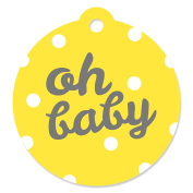 Hello Little One - Yellow and Grey - Neutral Baby Shower Party Favour Gift Tags