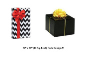 BHYMT Black Chevron and Solid Black Gift Wrap Wrapping Paper each design is 60cm by 240cm Beautiful