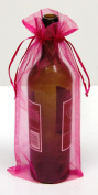 6x14 Organza Sheer Bags - Bottle/Wine Bags Gift Pouch - Fuchsia (12pc/$0.90 each) by GiSquare ft Organza