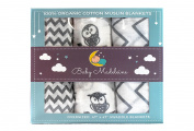 Premium Organic Cotton Muslin Baby Swaddle Blankets, Baby Madeleine 3 Pack, 120cm x 120cm Large Muslin Swaddles