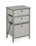 Badger Basket September 3 Basket Wood Frame Storage, Plaid/Grey