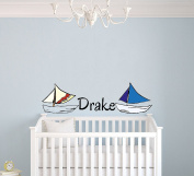 Custom Name Sail Boat -Nautical Theme- Baby Boy - Wall Decal Nursery For Home Bedroom Children