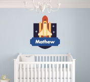 Custom Name Rocket - Space Theme - Baby Boy - Wall Decal Nursery For Home Bedroom Children