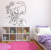Wall Decal Sticker Bedroom Kitten Cat Puddle Reflection Cartoon Kids Girls Boys Teenager Room 602b
