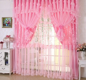 Jacquard Princess 4-Layer Ruffle Lace Embroidered Tulle Window Curtain Valances Panel Sheer for Living Room Bedroom Home Decor 300cm x 280cm