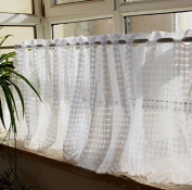 Classic White Plaid Pattern Polyester Lace Curtain Valances for Home Decor 150cm x 43cm