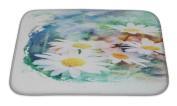 Gear New GN-BMAT-MF-A-25695-2417 No Slip Microfiber Memory Foam Flower Watercolour Illustration Bath Rug Mat,,60cm X 43cm