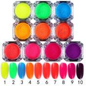 NICOLE DIARY 10 Colours Neon Phosphor Pigment Powder 2g Glitter Powder Manicure Nail Art Decoration