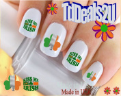 Holiday St. Patricks Day - Kiss Me I'm Irish Flag Clover - WaterSlide Nail Art Decals - Highest Quality! Made in USA