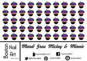Mardi Gras Mickey & Minnie Mouse - Waterslide Nail Decals - 50pc