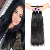 Kapelli Hair Brazilian 9A Straight Hair Unprocessed Virgin Remy Human Hair extensions Weave Weft 3 Bundles/lot, 300 Gramme Natural Colour
