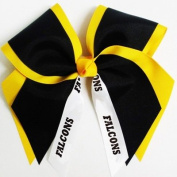 Custom Mascot Extra Large Two Layer Hair Bow with Mascot Streamer , Made in the USA, Pick your Mascot & Colours, Black Pony Band …