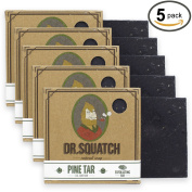 Dr. Squatch Pine Tar Soap 5-pack Bundle - Mens Bar with Natural Woodsy Scent and Skin Exfoliating Scrub - Handmade with Pine, Hemp, Olive Oils in USA