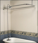 Satin Nickel Add-on Shower Set for Clawfoot Tub - Gooseneck Faucet, Riser, and Shower Rod