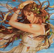 "Needlepoint Kit ""Summer nymph"" 17.7""x17.7"" 45x45cm. printed canvas 657"
