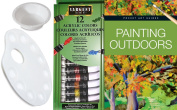Acrylic Painting Set How to Paint Outdoors book + 12 Paints with colour mixing Palette - & water cup art supply kit