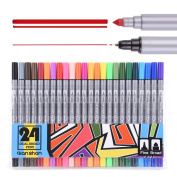 Dual broad Pen Coloured Art Markers 24 Colours - With Fineliner Fibre Tip 0.4 Fine Point - Sketch Drawing Marker - perfect for colouring books for adults qianshan