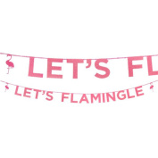 """Talking Tables Glitter Banner """"Let's Flamingle"""" Flamingo Décor for a Pink Party or Trendy Birthday Party , Pink/Glitter"""