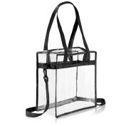 """Clear Bag NFL & PGA Stadium Approved - The clear tote bag with zipper closure is perfect for work, sports games.Cross-Body Messenger Shoulder Bag w Adjustable Strap -12"""" X 12"""" X 6"""""""