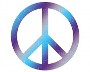 1/4 Sheet - Purple & Blue Peace Sign Birthday - Edible Cake/Cupcake Party Topper!!!