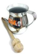 Imusa Aluminium Chocolatera (Hot Chocolate Pitcher). Bundled with a Wooden Chocolate Mixer - Molinillo 36cm