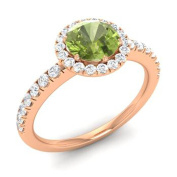 Sams Fashion Created Round Green Peridot & CZ Diamond Solitaire With Accents Ring-14K Rose Gold Plated Alloy Engagement Ring