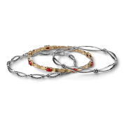 American West Sterling Silver Brass Red Coral Set of Three Stacking Bangle Bracelet Set