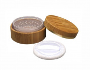 30ml 1oz Empty Refillable Portable Environmental Bamboo DIY Make up Loose Powder Jar Container Case with Sponge Powder Puff and Sifter Baby Powder Puff Kit Foundation Cosmetic Box