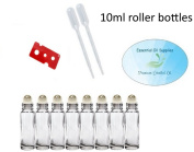 10ml Essential Oil Clear Glass Roller Bottles with Stainless Steel Balls (Pack of 8), Pipettes, and Essential Oil Bottle Opener