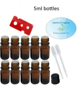5ml Amber Glass Bottles with Euro Orifice Reducer Tops (Pack of 10), Pipettes, and Essential Oil Bottle Opener