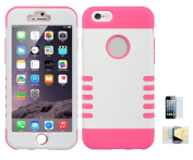 Iphone 6, 6s, [WHITE/PINK] Shock Absorbing Hybrid Rubber Plastic Impact Defender Hard Cover Shell Momiji Cleaning Cloth, [Screen Guard] Screen Protector For Apple Iphone 6, 6s