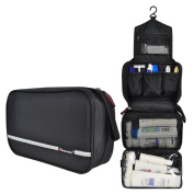 Comicfs Hanging Toiletry Kit Clear Travel BAG Cosmetic Carry Case Toiletry (Black), With Comicfs cleaning cloth