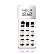 Dashing Diva Magic Press Premium Series #01 Black Illumination Full Cover Gel Nail Tips, Easy to attach without Glue