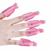 10Pcs/set Plastic Nail Art Soak Off Cap Clip Polish Remover Wrap for Nail beauty Tools