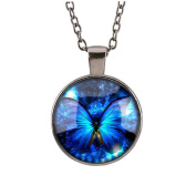 Necklace, Hatop Vintage new Butterfly blue Cabochon Silver plated Glass Chain Pendant Necklace