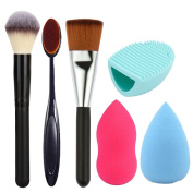 RichCoco 3 pcs Makeup Brush Makeup Brush Cleaner Set Makeup brush kit + 2 PcsBeauty Sponge