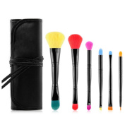 .  6Pcs Pro Double Head Makeup Brush+Pouch Bag,Canserin Eyeliner Brush Kits